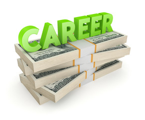 Word CAREER on a stack of dollars.