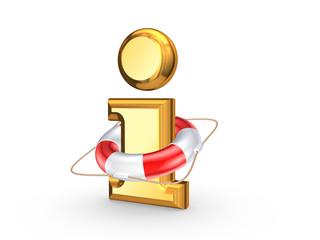 Lifebuoy and symbol of information.