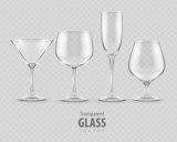 set of transparent glass goblets vector