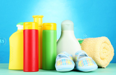 Baby cosmetics, towel and boots