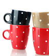Four cups of polka dot isolated on white