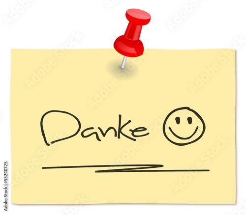 Zettel Danke Smiley