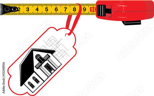 Measuring ruler with tag. Cottage for sale