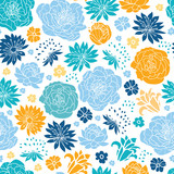 Fototapety Vector blue and yellow flowersilhouettes seamless pattern
