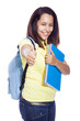 Happy female student thumb up and carrying notebooks - isolated