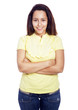 Happy young woman portrait standing with arms crossed, isolated