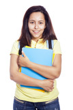 Happy female student carrying notebooks - isolated over a white