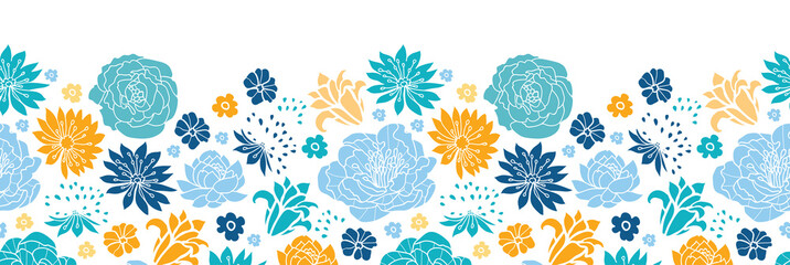 Vector blue and yellow flowersilhouettes horizontal seamless
