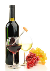 Bottle and glasses of wine with thermometer, isolated on white