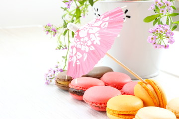 Macarons and little parasol