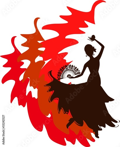 Silhouette of flamenco dancer with fan and castanets