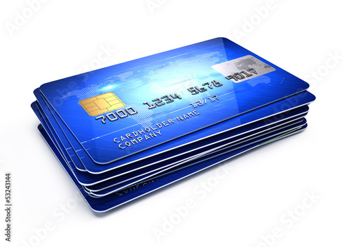 Stack of Credit Cards isolated on white