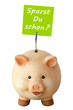 Freundliches lachendes Sparschwein: Sparst du schon?