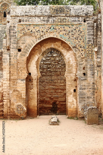 Arabic door in Necropolis of Cellah. Rabat, Morocco