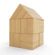 Kleines Holzhaus aus Bauklötzen isoliert 2