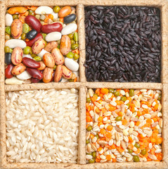 Group of beans and lentils isolated on white background