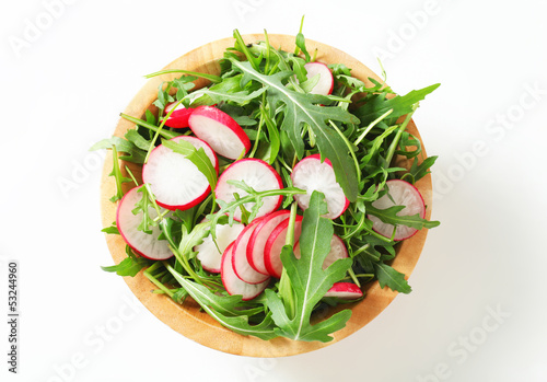 Salad greens with sliced radish