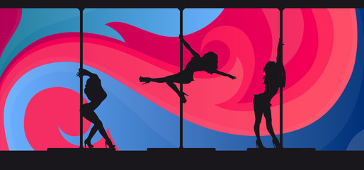 Silhouettes of exotic pole dancers on abstract background