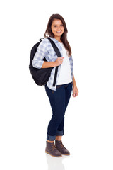 teen high school girl with backpack