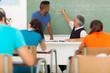 high school biology teacher teaching student