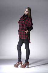 Full body pretty girl in casual style clothing