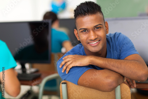 male indian high school student looking back