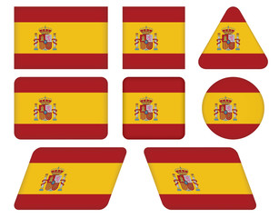 set of buttons with flag of Spain