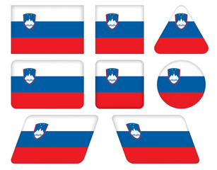 set of buttons with flag of Slovenia