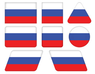 set of buttons with flag of Russia