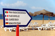 Beach with sign - guarded beach