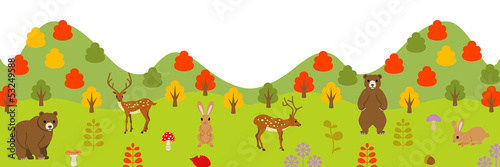 Autumn animals in forest, panoramic