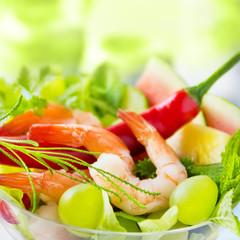 Scampi Salat mit Chili und Olivenkraut