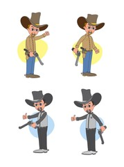 cowboy cartoon set