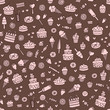 Vector seamless brown doodle pattern with sweets