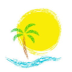 Tropical palms on island with sea. Vector icon.