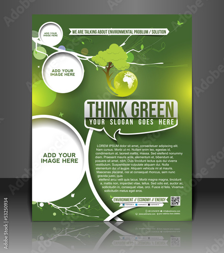 Vector eco brochure, flyer, magazine cover design