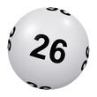 Loto, boule blanche numéro 26