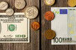 US and euro money over wooden background