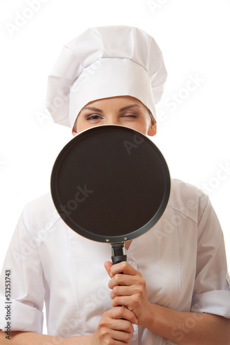 female cook  in white uniform with pan, isolated