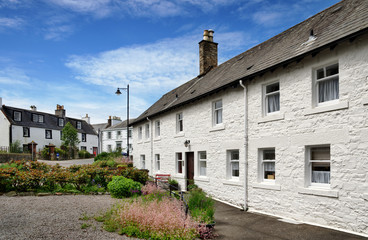 Row of white painted cottages in Kirkcudbright