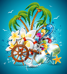 Vector SummerFlyer Design with palm trees and shipping elements.