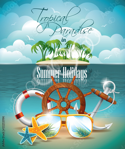 Vector Summer Flyer with palm trees and shipping elements.