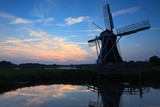 Dutch windmill sunset