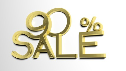 3d letters forming ninety percent symbol and the word sale