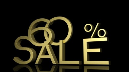 3d letters forming sixty percent symbol and the word sale
