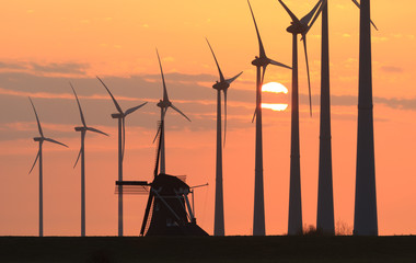 Dutch windmills at sunset