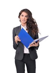 бизнес-леди в чёрном костюме и с папкой в руках