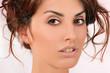 портрет красивой девушки, макияж, лицо
