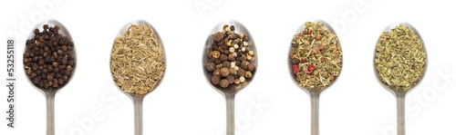 variety of spices on metal spoon over white background