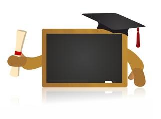 happy blackboard holding diploma